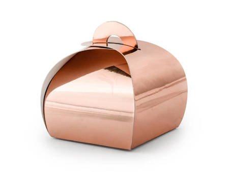 Pudełeczka na prezenty, słodycze - różowe złoto - 6x6x5,5 cm - 10 szt.