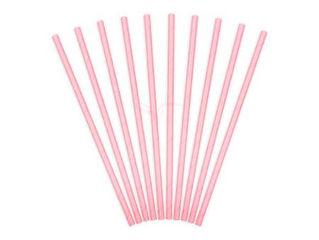 Słomki papierowe - Różowe - 19,5 cm - 10 szt.