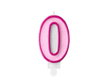 Świeczka urodzinowa Cyferka 0 - zero - różowa - 7 cm