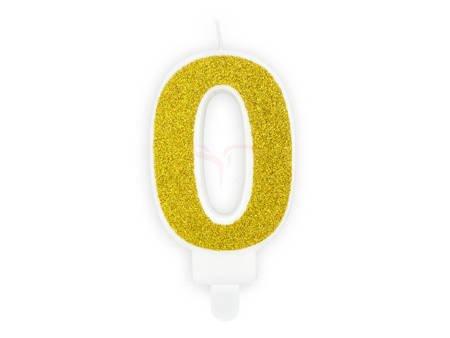Świeczka urodzinowa Cyferka 0 - zero - złota - 7 cm