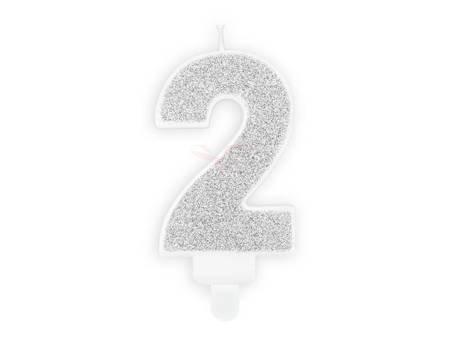 Świeczka urodzinowa Cyferka 2 - dwa - srebrna - 7 cm