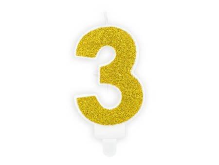 Świeczka urodzinowa Cyferka 3 - trzy - złota - 7 cm