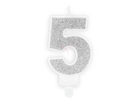 Świeczka urodzinowa Cyferka 5 - pięć - srebrna - 7 cm