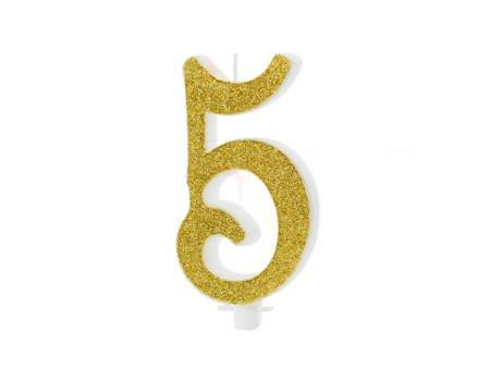 Świeczka urodzinowa Cyferka 5 - pięć - złota - 10 cm