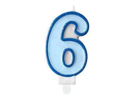 Świeczka urodzinowa Cyferka 6 - sześć - niebieska - 7 cm