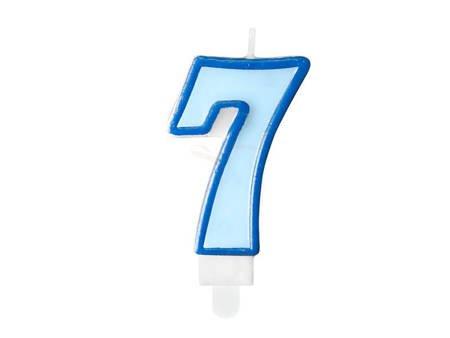 Świeczka urodzinowa Cyferka 7 - siedem - niebieska - 7 cm