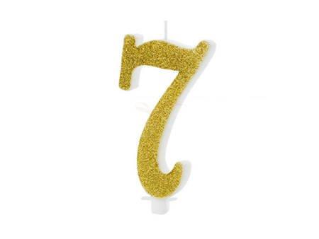 Świeczka urodzinowa Cyferka 7 - siedem - złota - 10 cm