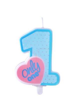 Świeczka urodzinowa Only One - roczek - błękit - 8 cm