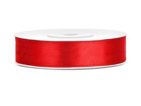 Tasiemka satynowa czerwona - 12mm/25m