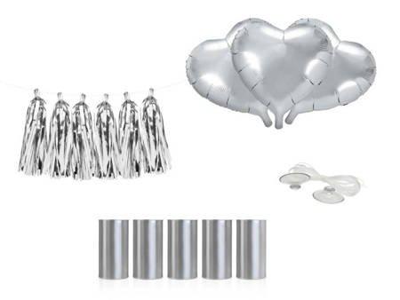 Zestaw dekoracji samochodowych - Serca - srebrne